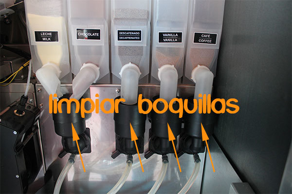 limpiar boquillas de máquinas expendedoras